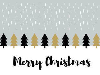 Christmas winter forest landscape background with snow. Minimal vector design with calligraphic merry christmas message