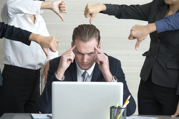 Man in Stress Situation when he missed for business project and team blame him, Businessman Unsuccess for business Project.