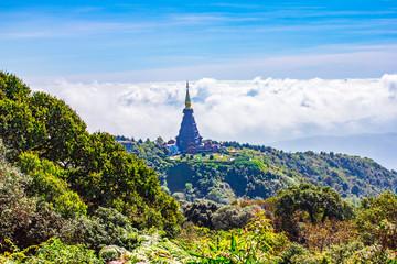 Landmark pagoda in doi Inthanon   Chiang mai, Thailand.