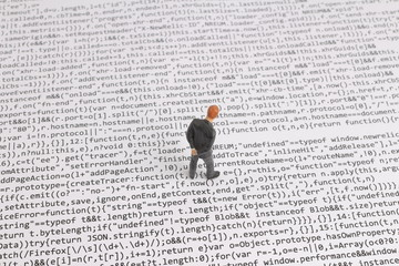 small business man figure on the code