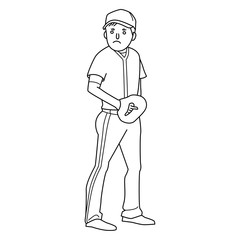 Vector illustration of a baseball player throwing the ball.