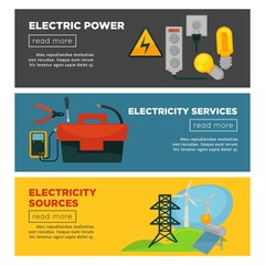 Electric power, electricity sources and services promotional posters