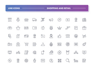 Set of 60 line icons. Shopping and retail