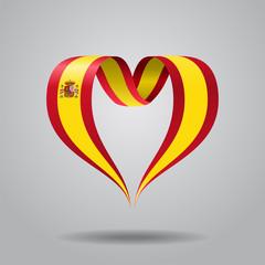 Spanish flag heart-shaped ribbon. Vector illustration.