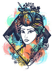 Geisha color tattoo and t-shirt design. Symbol of Asia, Japan, China. Portrait of Maiko geisha tattoo art