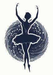 Ballerina dances in space universe tattoo. Symbol of art, poetry, philosophy. Graceful girl dancing in deep space t-shirt design