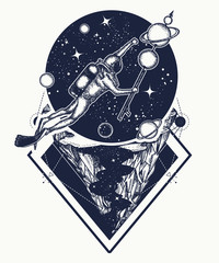 Astronaut in deep space t-shirt design. Diver floats in space tattoo art. Diver catches planets in space. Symbol of science, research, space travel