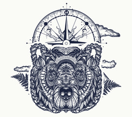 Bear and compass tattoo and t-shirt design. Northern grizzly bear, symbol of force, tourism, adventure, outdoors, wild nature. Ornamental celtic bear head tattoo