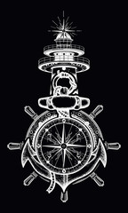 Anchor, steering wheel, compass, lighthouse, tattoo art. Old anchor and lighthouse t-shirt design. Symbol of maritime adventure, tourism, travel