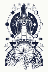 Space shuttle, compass and mountains tattoo art. Symbol of space research, flight to new galaxies, tourism, adventure, travel. Space shuttle taking off on mission t-shirt design