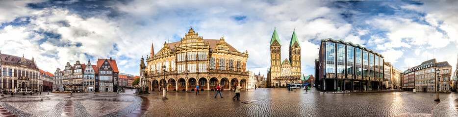 Skyline of Bremen main market square in the centre of the Hanseatic City, Germany. 360 degree...