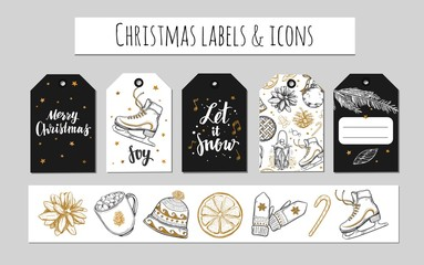 Christmas and New Year labels, gift tags and icons. Holidays decoration. Vector hand drawn illustrations and Modern Brushpen Calligraphy. Design templates