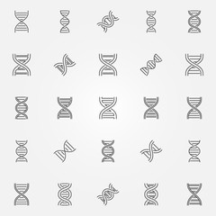 DNA icons set - vector dna helix concept symbols