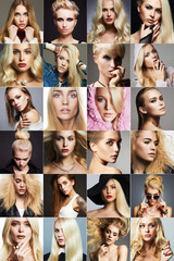 beauty blondes collage.Faces of women
