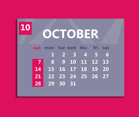 October calendar 2018. Week starts on Sunday. Business vector illustration template for one month 2018 years.