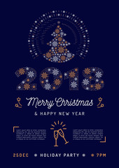 Christmas Party flyer, Holiday 2018 Printable Invitation. Merry Christmas and Happy New Year greeting poster, Business wish card. Vector flat design