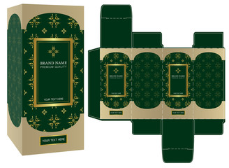 Packaging design, green and gold luxury box design template and mockup box. Illustration vector..