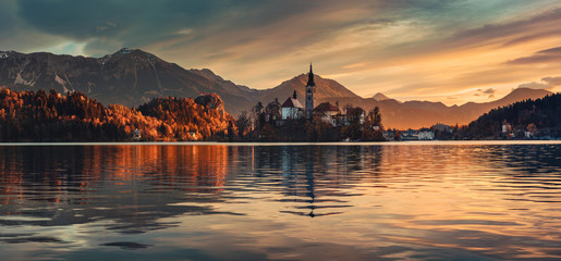 Lake Bled with St. Marys Church of the Assumption on the small island; Bled, Slovenia, Europe