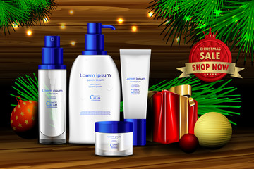 Luxury cosmetic Bottle package skin care cream, Beauty cosmetic product poster, with Bokeh and christmas background