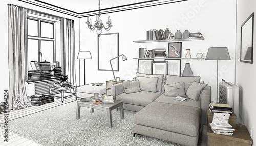 Bucher Im Wohnzimmer Einrichtung Und Dekoration Planung Stock