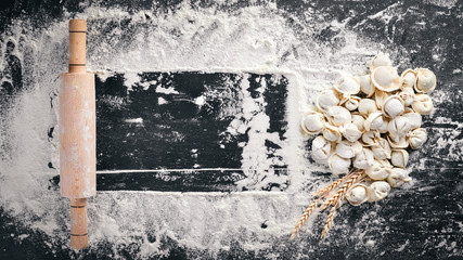 Ravioli homemade. Fresh dough and ravioli traditional to the rustic table.