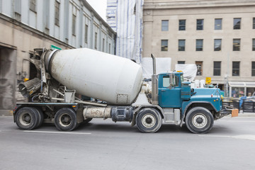 Concrete truck in the city