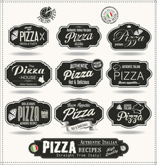 Pizza badges and labels retro black collection