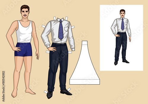 The sports guy in the underwear is standing in front. Paper doll of ...