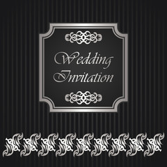 Wedding invitation with frame and floral border on striped background