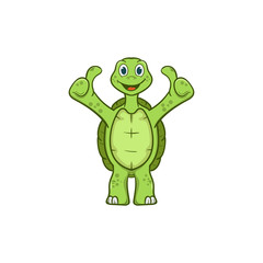 stand good cute turtle cartoon vector illustration