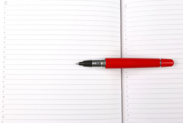 red pen lying on an open notebook.
