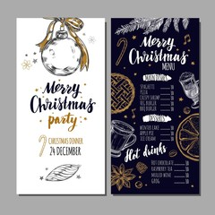 Merry Christmas festive Winter Menu on Chalkboard. Design template includes different Vector hand drawn illustrations and Brushpen Modern Calligraphy. Beverages, food and christmas elements.