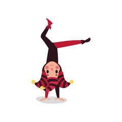 Joker flat cartoon character standing upside down. Jester or festival fool in black and red costume, cap and bells.