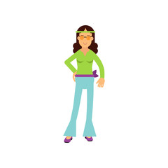 Flat cartoon woman hippie. Female with long brown hair dressed in blue flared jeans, green shirt, round glasses