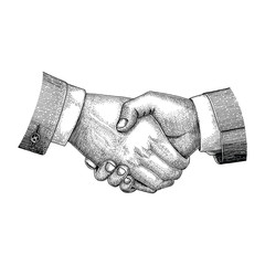 Handshake drawing vintage engraving style