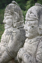 Stone statues in tomb of King Kongmin, North Korea