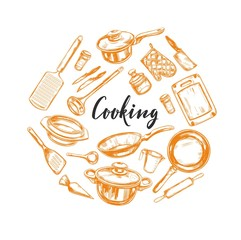 Cooking concept. Kitchen tools . Vector hand drawn illustration with Modern Calligraphy. Lettering