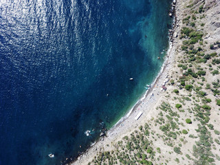 A beach from the sky, drone footage, Balaklava, Crimea