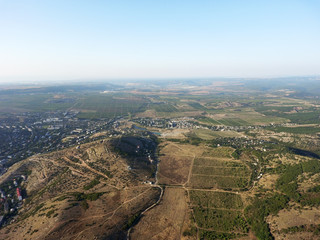 Drone aerial view of the Crimean hills and fields