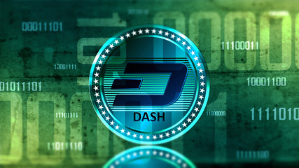 Virtual cryptocurrency Dash coin sign in digital cyberspace