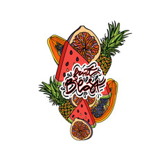 Exotic fruits vector composition.