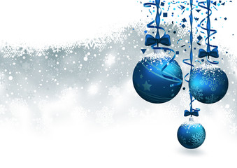 Christmas Background with Blue Baubles - Festive Illustration, Vector