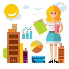 Vector Business woman with coffee. Flat style colorful Cartoon illustration.