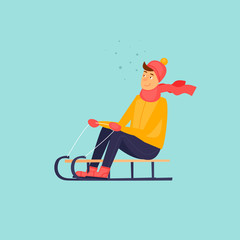 Boy is riding a sled. Flat design vector illustration.