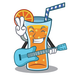 With guitar cocktail character cartoon style