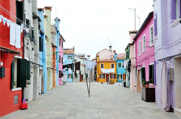 View of a characteristic street in Burano island, Venice, Italy