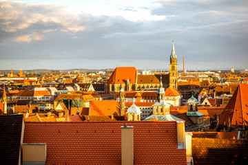 Fototapete - Cityscape view on the old town of Nurnberg city during the sunset in Germany