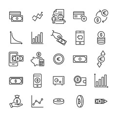 Modern outline style investments icons collection.