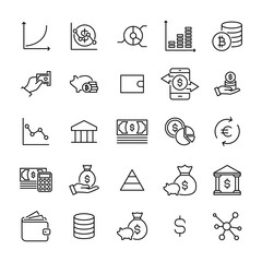 Premium set of investments line icons