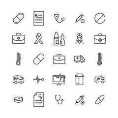 Set of premium medical icons in line style